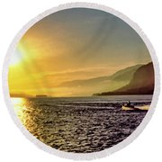 Columbia River 001 Round Beach Towel