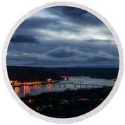 Round Beach Towel featuring the photograph Columbia River by Cat Connor