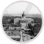 Columbia South Carolina - State Capitol Building - C 1905 Round Beach Towel by International  Images