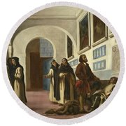 Columbus And His Son At La Rabida Round Beach Towel