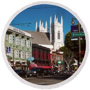 Columbus And Stockton In North Beach Round Beach Towel