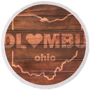 Columbus Heart Wording With Ohio State Outline Painted On Wood Planks Round Beach Towel