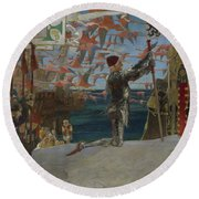 Columbus In The New World Round Beach Towel by Edwin Austin Abbey