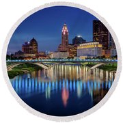 Round Beach Towel featuring the photograph Columbus Ohio Skyline At Night by Adam Romanowicz