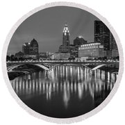 Round Beach Towel featuring the photograph Columbus Ohio Skyline At Night Black And White by Adam Romanowicz
