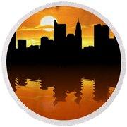 Columbus Ohio Skyline Sunset Reflection Round Beach Towel