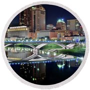 Columbus Over The Scioto Round Beach Towel by Frozen in Time Fine Art Photography