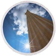 Column To Sky Round Beach Towel
