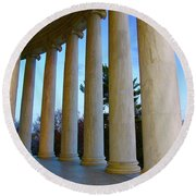 Columns At Jefferson Round Beach Towel by Megan Cohen