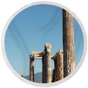 Columns Of Athens Round Beach Towel
