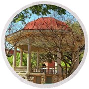 Comal County Gazebo In Main Plaza Round Beach Towel