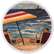 Comb Over Brothers Round Beach Towel