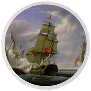 Combat Between The French Frigate La Canonniere And The English Vessel The Tremendous Round Beach Towel