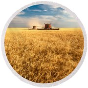 Combines Cutting Wheat Round Beach Towel