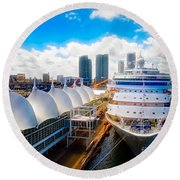 Round Beach Towel featuring the photograph Come Cruise With Me by Sue Melvin