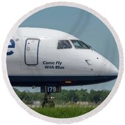 Come Fly With Blue Round Beach Towel