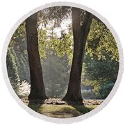 Round Beach Towel featuring the photograph Come On Spring by Phil Mancuso