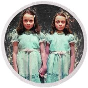 Come Play With Us - The Shining Twins Round Beach Towel