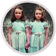 Come Play With Us - The Shining Twins Round Beach Towel by Taylan Apukovska