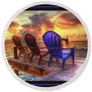 Come Sit A While Round Beach Towel