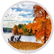 Come Sit For A While Round Beach Towel