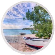 Come To Curacao Round Beach Towel