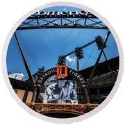 Round Beach Towel featuring the photograph Comerica Park by Onyonet  Photo Studios