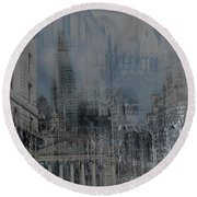 Comes The Night - City Deamscape Round Beach Towel