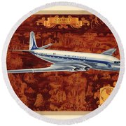 Comet - Di Havilland - Illustrated Poster Of The Air France Aircraft - Vintage Poster Round Beach Towel
