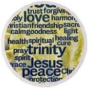 Round Beach Towel featuring the photograph Comfort Words by Jean OKeeffe Macro Abundance Art
