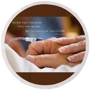 Comforting Hand Of Love Round Beach Towel