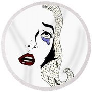 Comic Lady Round Beach Towel by Lucy Frost