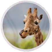 Comical Giraffe With His Tongue Out.  Round Beach Towel