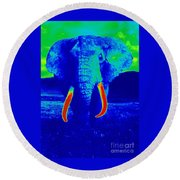 Heat Map Elephant Coming At You In About Ten Seconds Round Beach Towel