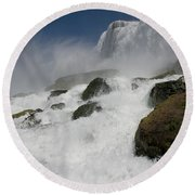 Round Beach Towel featuring the photograph Coming Close To Niagara Falls by Jeff Folger