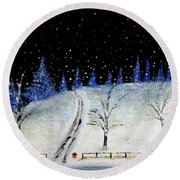 Coming Home For Christmas Round Beach Towel