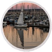 Coming Into The Harbor Round Beach Towel