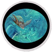 Round Beach Towel featuring the painting Coming Out Of The Depths 2 by Darice Machel McGuire