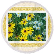 Coming Up Daisies Orange Round Beach Towel by Shirley Moravec