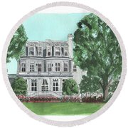 Round Beach Towel featuring the painting Commandant's Back Yard by Betsy Hackett