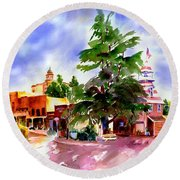Commercial Street, Old Town Auburn Round Beach Towel