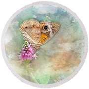 Round Beach Towel featuring the photograph Common Buckeye by Betty LaRue