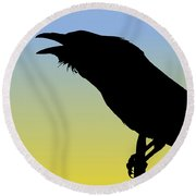 Common Raven Silhouette At Sunrise Round Beach Towel