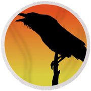 Common Raven Silhouette At Sunset Round Beach Towel