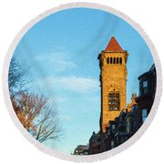 Commonwealth Avenue In Boston Round Beach Towel