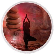Round Beach Towel featuring the digital art Commune 2017 by Kathryn Strick
