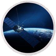 Communications Satellite Orbiting Earth Round Beach Towel