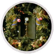 Communion Cup And Host Encircled With A Garland Of Fruit Round Beach Towel