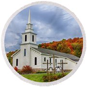 Community Church Round Beach Towel