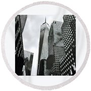 Commuters' View Of 1 World Trade Center Round Beach Towel by Gina Callaghan